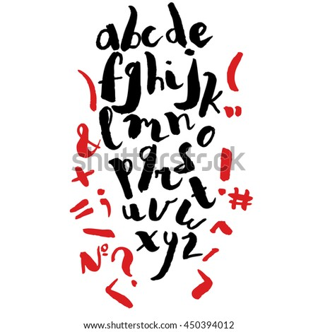 Alphabet written in free style with brush pen. Lowercase letters in watercolor artistic style. - stock vector