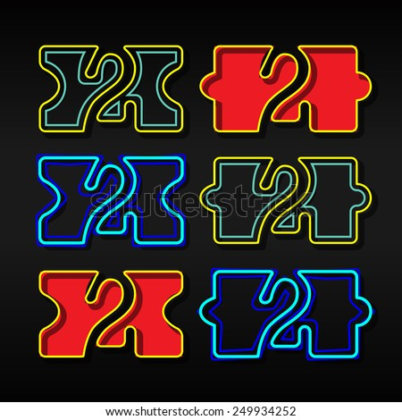 Alphabet written with puzzle - Number 2 - stock vector