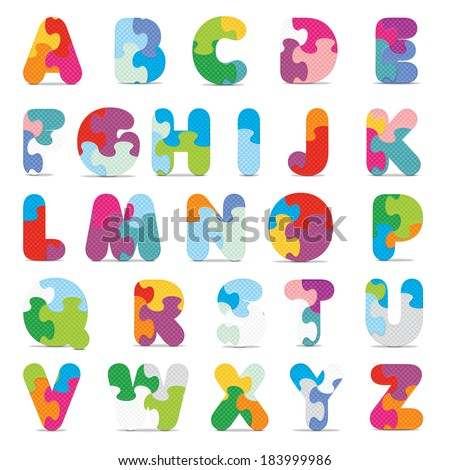 Alphabet written with puzzle - vector illustration - stock vector