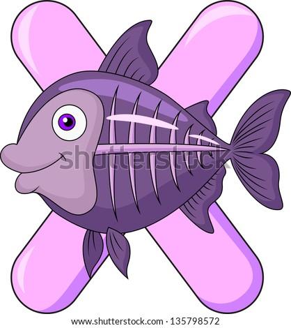 Alphabet X with X-ray fish - stock vector