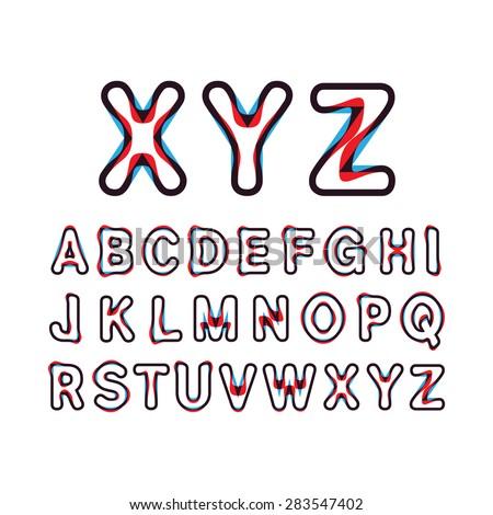 Alphabetic fonts.Capital letter A, B, C, D, E, F, G, H, I, J, K, L, M, N, O, P, Q, R, S, T, U, V, W, X, Y, Z. Vector illustration. - stock vector