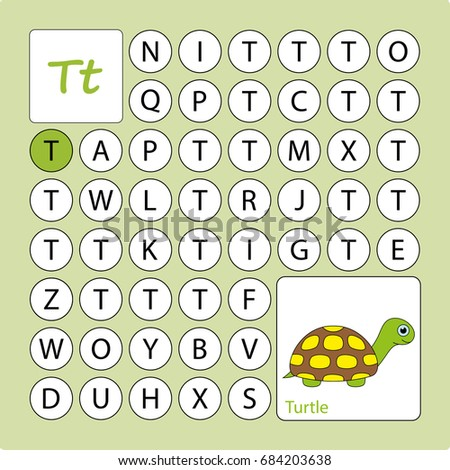 Alphabetical Labyrinth Worksheet Learning Letter T Stock Vector