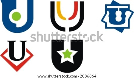 Alphabetical Logo Design Concepts. Letter U. Check my portfolio for more of this series. - stock vector