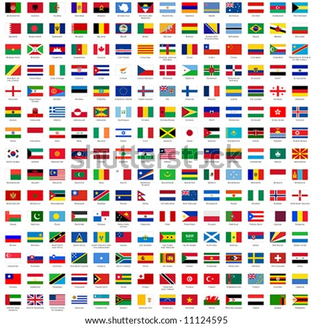alphabetically sorted flags of the world (3x2) with official RGB coloring and detailed emblems - stock vector