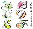 alphabets elements design -  series A to F - stock vector