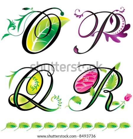 alphabets elements design -  series O to R - stock vector
