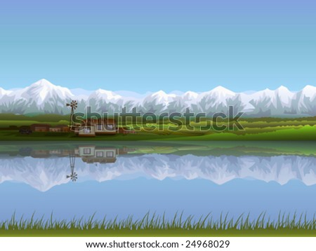 Alpine farm - stock vector