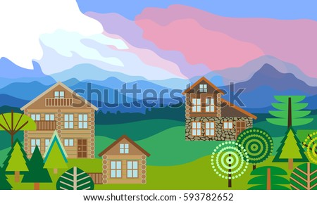 Alpine landscape with log homes.  Beautiful scenery with mountains, forest, cloudy sky and chalets. Vector illustration.