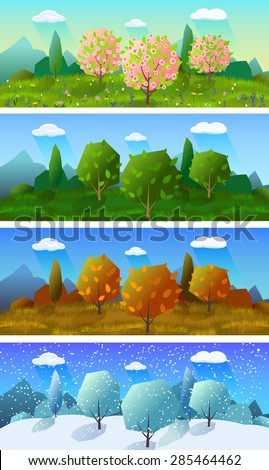 Alpine meadow landscape of the four seasons 4 horizontal banners set abstract isolated vector illustration - stock vector