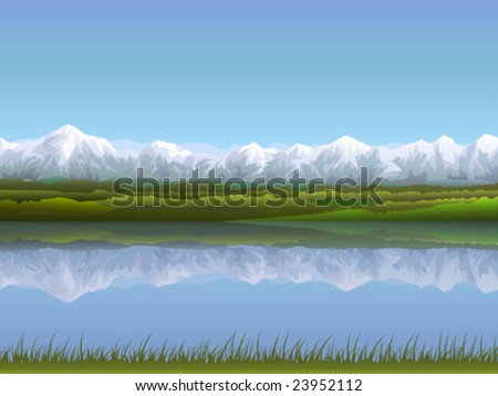 Alpine panorama reflecting in clear water (other landscapes are in my gallery) - stock vector