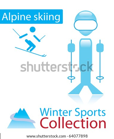 Alpine skiing from winter sports collection. Olympic sign and person icon.