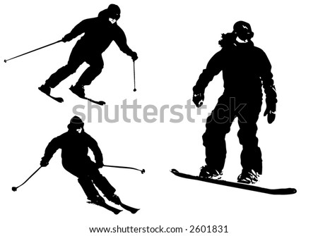 Alpine skiing silhouettes - stock vector