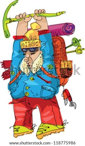 alpinist -cartoon - stock vector