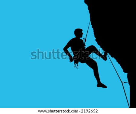 alpinist, climber, mountaineer, sports - stock vector