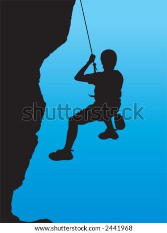 alpinist, climber, mountaineer, sports - stock vector