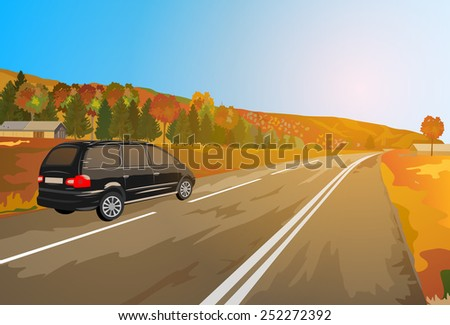 Alps car autumn travel. EPS 10 format. - stock vector