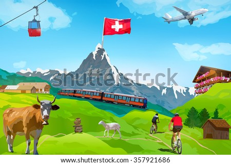 Alps Matterhorn mountain welcome card with landmarks - stock vector