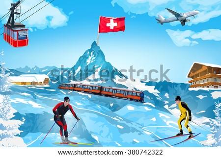 Alps Matterhorn mountain welcome card with landmarks - stock vector