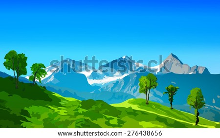 Alps mountains with green fields and snow rocks. - stock vector