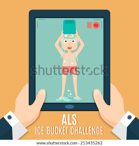 ALS Ice bucket challenge concept vector illustration. Man throwing ice and water on himself and make recording to the tablet. Vector illustration in modern flat style - stock vector