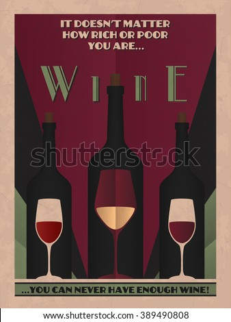 AVAILABLE HERE Etsy Wine Vintage Poster Stock Vector 389490808