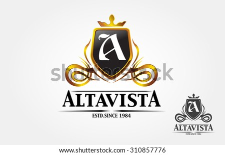 Alta vista royal professional crest logo or classic logo template suitable for any kind of business. All image in vector format. - stock vector