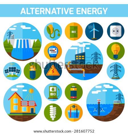 Alternative atom water solar energy icons flat set isolated vector illustration - stock vector