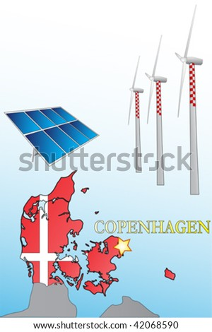 Alternative energy and Copenhagen climate conference - stock vector
