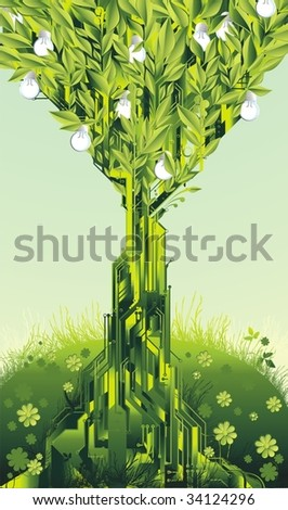 alternative energy concept circuit tree with light bulb fruits,in a spring meadow - stock vector