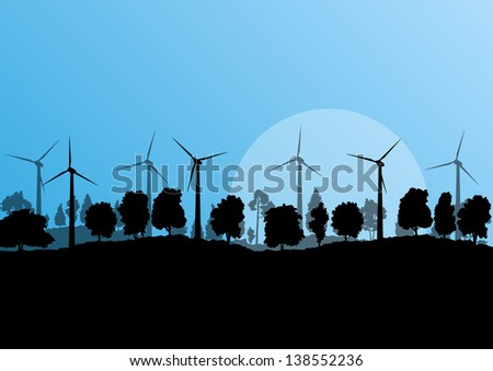 Alternative energy electricity wind generators in countryside forest nature landscape illustration background vector - stock vector