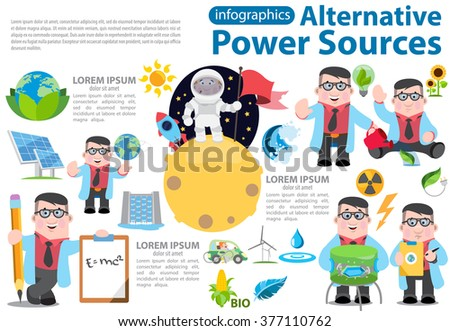 Alternative energy infographics. Solar panels, wind turbines, hydro dam, biological energy sources. Science and Technology. - stock vector