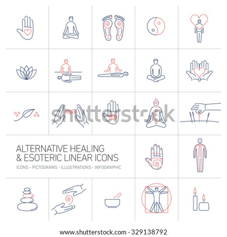 alternative healing and esoteric linear icons set blue and red on colorful background | flat design illustration and infographic - stock vector