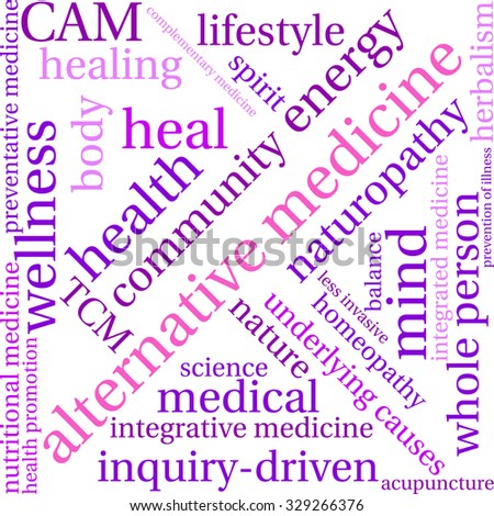 Alternative Medicine word cloud on a white background.