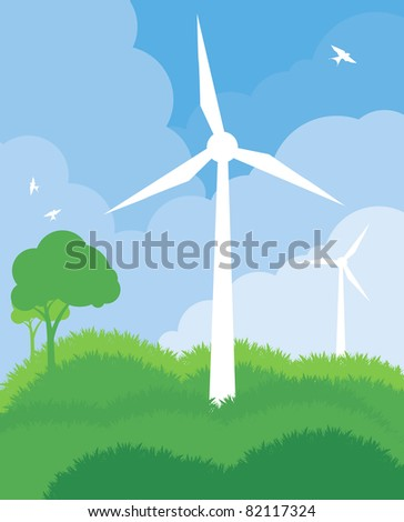 Alternative wind energy vector ecology background - stock vector