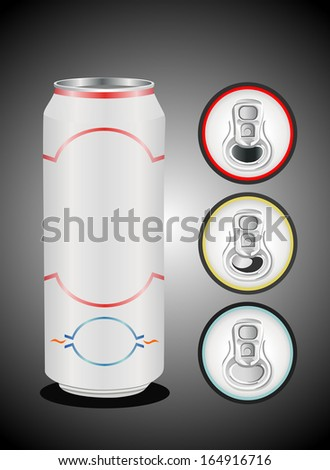 aluminium can on top view - stock vector