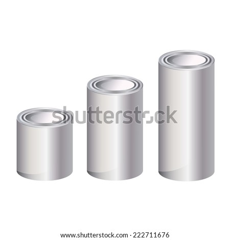 Aluminum anodized metal cans  medium long size isolated on white with adjustable high vector piece - stock vector