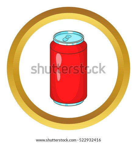 Aluminum beverage bank vector icon in golden circle, cartoon style isolated on white background