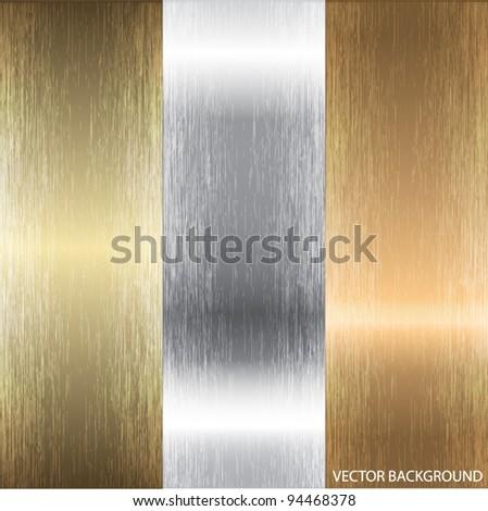Aluminum, bronze and brass textures - stock vector