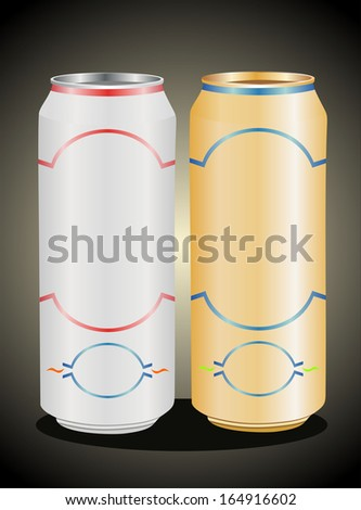Aluminum can with water drops  - stock vector