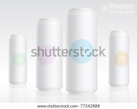 Aluminum cans isolated on white. Vector illustration - stock vector
