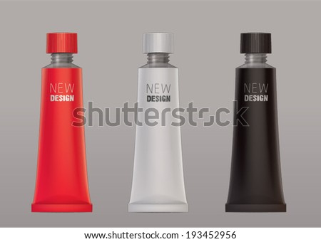 aluminum collapsible tube template for new design - stock vector
