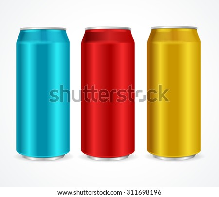 Aluminum Different Colors Cans Ideal for Juice, Water, Cola, Beer, Alcohol and Lemonade etc. Vector illustration