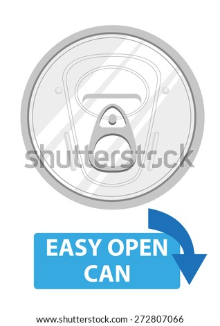 Aluminum Easy Open Lid for Beverages Instruction Label. Editable Clip Art EPS10. - stock vector