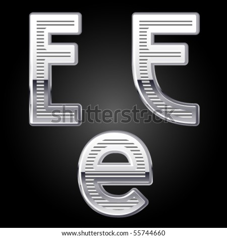 Aluminum or chrome engraved characters. e - stock vector