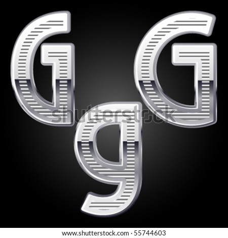 Aluminum or chrome engraved characters. g - stock vector