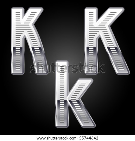 Aluminum or chrome engraved characters. k - stock vector