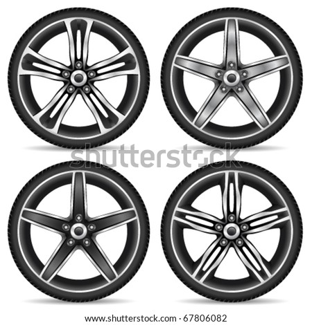 aluminum wheel set - vector illustration - stock vector