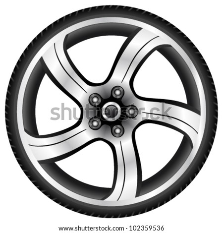 aluminum wheel - vector illustration - stock vector