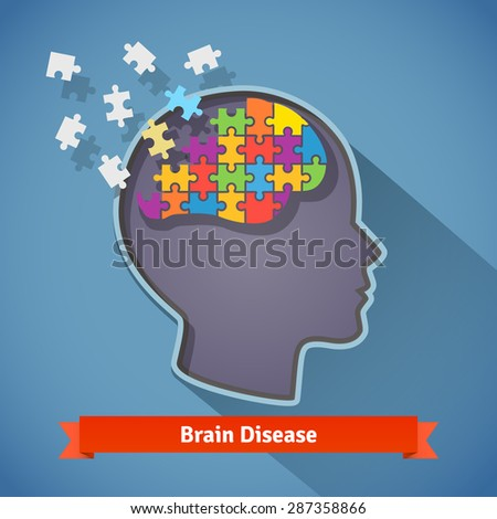 Alzheimer brain disease, shattering human brain, memory loss and mental problems concept. Flat style icon. - stock vector