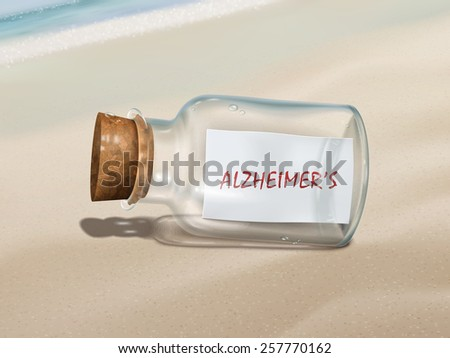 alzheimer's message in a bottle isolated on beautiful beach - stock vector